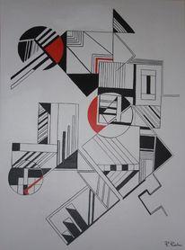 Weiß, Konstruktive kunst, Construktive kunst, Rot schwarz