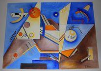 Contruktive cubism, Ölmalerei, Dreiecke kreise, Ria reuter
