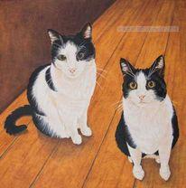 Katze, Ölmalerei, Tierportrait, Tiermalerei