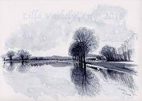Landschaft, Monochrom, Studie, Natur
