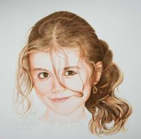 Kind, Mädchen, Tuschmalerei, Portrait