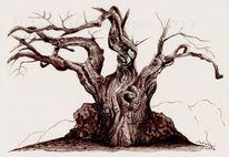 Maronen, Tuschezeichnung, Baum, Tusche
