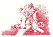 Katze, Federzeichnung, Hand, Tuschezeichnung