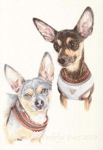 Hund, Tuschezeichnung, Tuschmalerei, Auftragszeichnung