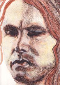 Aquarellmalerei, Mischtechnik, Gesicht, Portrait