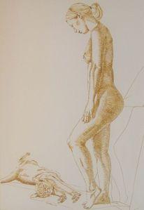 Tuschmalerei, Jung, Feder, Akt