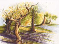 Natur, Landschaft, Tuschmalerei, Baum