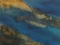 Küste, Braun, Blau, Türkis
