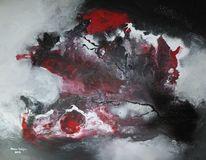 Mischtechnik, Rot schwarz, Pigmente, Abstrakt