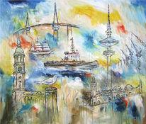 Maritim, Hafen, Abstrakt, Acrylmalerei