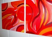 Orange, Rot, Schwingen, Malerei