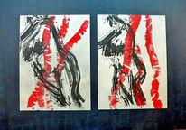 Rot schwarz, Tuschmalerei, Acrylmalerei, Akt