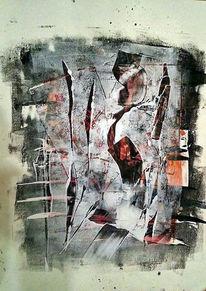 Schwarz weiß, Collage, Farben, Monotypie