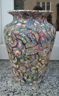 Bunt, Vase, Kunsthandwerk, Acrylmalerei