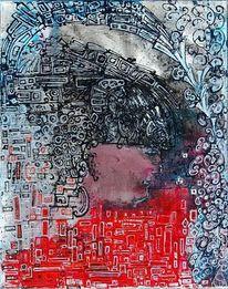 Gesicht, Struktur, Rot schwarz, Profil