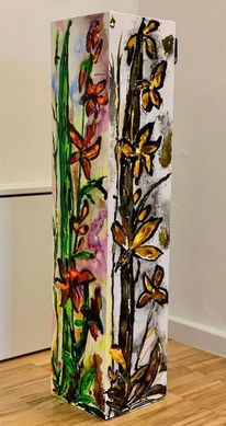 Orchidee, Säule, Blumen, Malerei