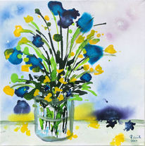 Gelb, Abstrakt, Vase, Dotterblumen