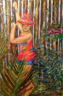 Bambus, Baum, Urwald, Malerei