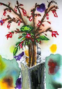 Zweig, Vase, Frühling, Malerei
