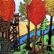 Herbst, Naiv, Acrylmalerei, Malerei