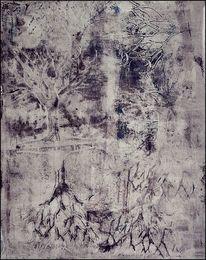 Wald, Monochrom, Baum, Mischtechnik