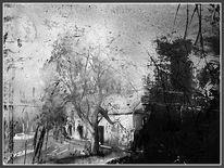 Gehöft, Fotografie, Malerei, Baum