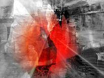 Grau, Glut, Abstrakt, Rot schwarz