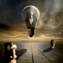 Glühlampe, Zeit, Surreal, Uhr