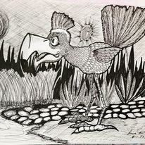 Tuschmalerei, Fantasie, Vogel, Kuli