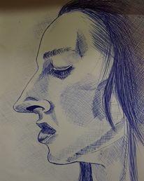 Kohlezeichnung, Kuli, Aquarellmalerei, Skizze