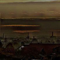 Wolken, Haus, Kirche, Abendhimmel