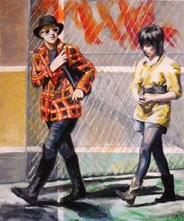 Hipster paar, Malerei