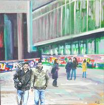 Platz, Menschen, Acrylmalerei, Malerei