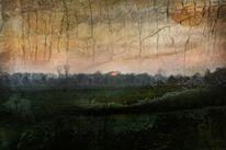 November, Sonnenuntergang, Textur, Digitale kunst