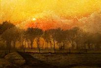 Sonnenuntergang, Landschaft, Textur, Digitale kunst