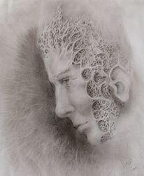 Bleistiftzeichnung, Selbstportrait, Verlust, Zeichnungen