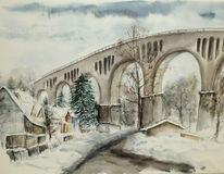 Viadukt, Schnee, Bach, Winter