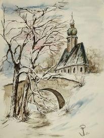 Kirche, Brücke, Winterlandschaft, Weiß
