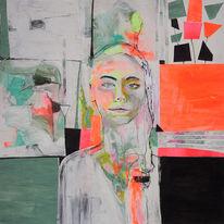 Portrait, Frau, Pink, Neon