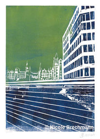 Hamburg, Haus, Gebäude, Linol