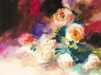 Blumen, Rose, Blätter, Aquarell