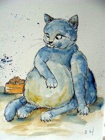 Katze, Katzenkarikatur, Karikatur, Zeichnungen