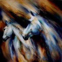 Pferde, Pferdemalerei, Malerei, Schimmel