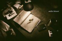 Historie, Katze, Schreibtisch, Akt