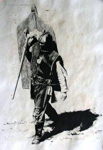 Kampf, Zeichnung, Reenactment, Schwert