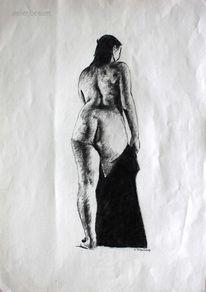 Rücken, Akt, Gesäß, Frau