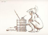 Hocken, Logo, Bücher, Frau