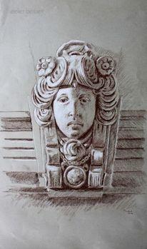 Crottendorf, Maskaron, Fassade, Frauenportrait
