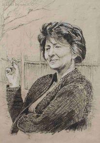Rauchen, Portrait, Atelier beissert, Zeichnung