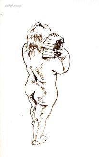 Gesäß, Rücken, Buch, Stehen